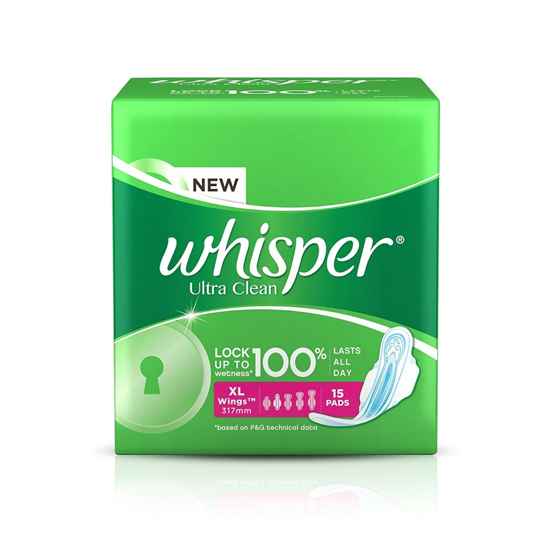 Whisper Ultra Sanitary Pads - XL Wings (15 piece Pack)