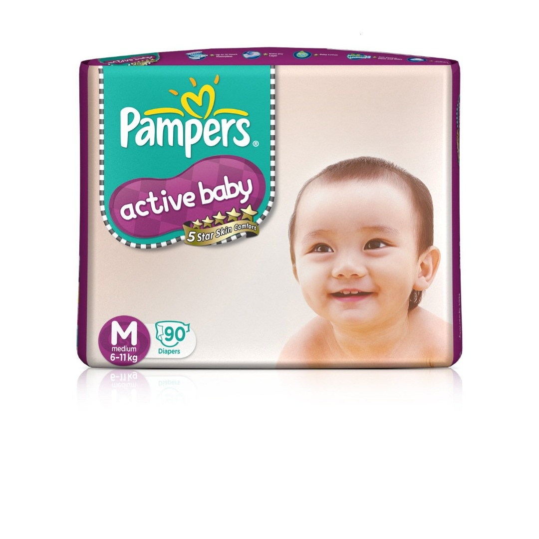 PAMPERS ACTIVE BABY M 6-11 90