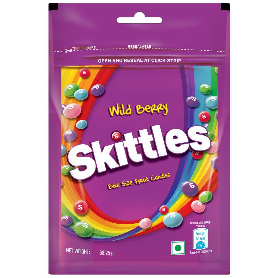 SKITTLES  WILD BERRY BITE SIZE FRUIT CANDY 68.25 GMS