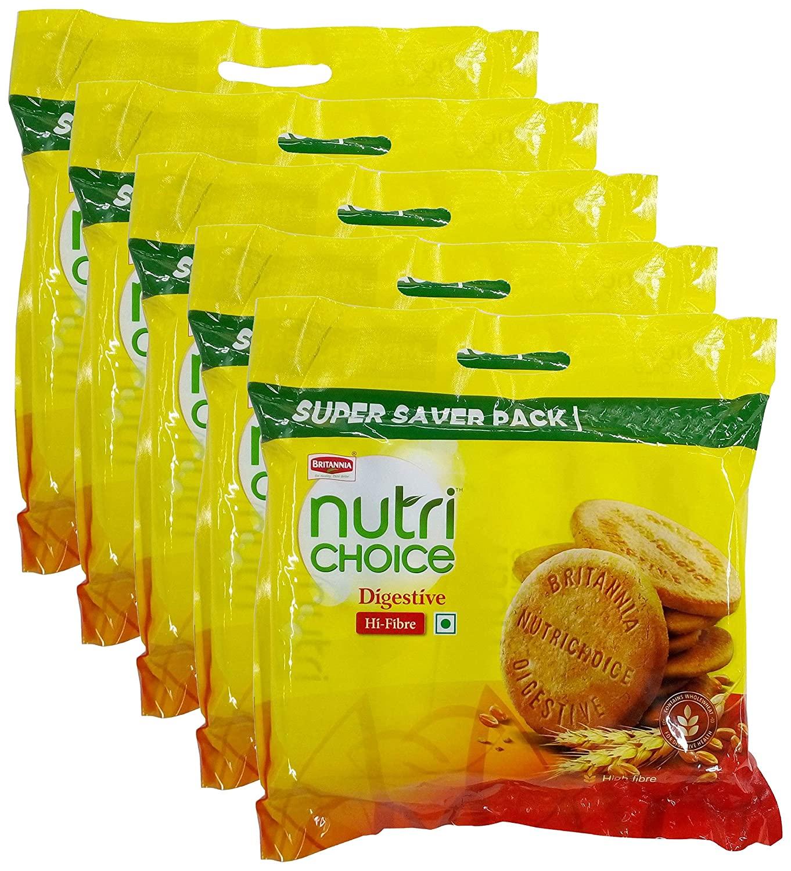 Britannia Nutri Choice Digestive Biscuits, 1 Kg (Pack of 5) Promo Pack