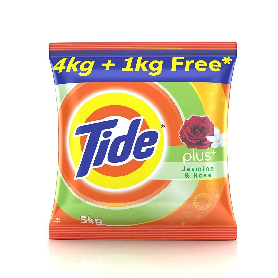 Tide Plus Jasmine and Rose Detergent Washing Powder - 5 kg (4 kg + 1 kg Free)