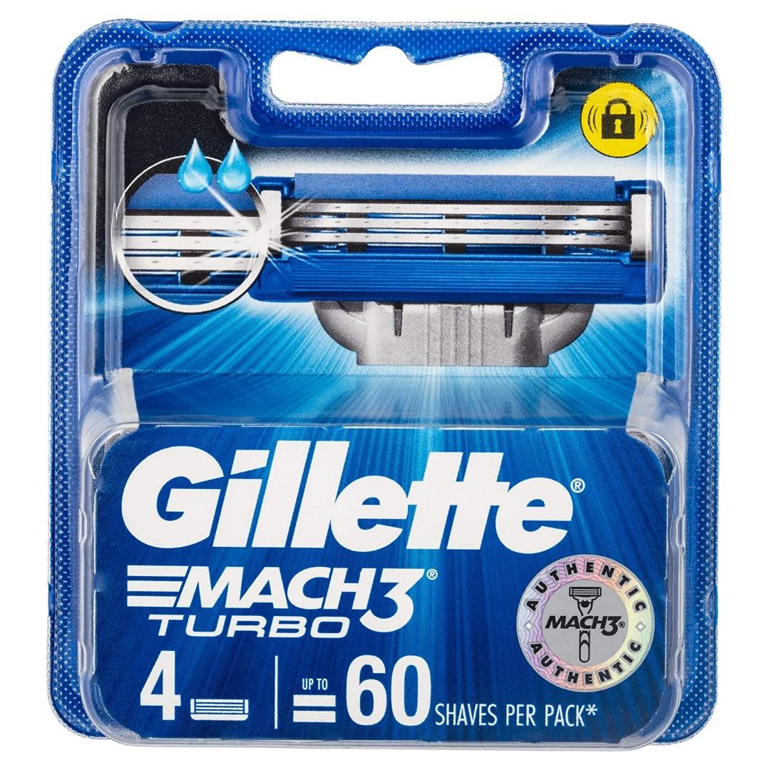 Gillette Mach 3 Turbo Manual Shaving Razor Blades - 4s Pack