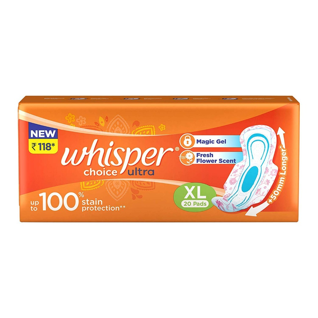 Whisper Choice Sanitary Pads for Women, XL 20 Napkins
