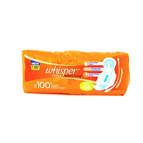 Whisper Choice Extra Long XL 6 Pads Upto 100% Stain Protection