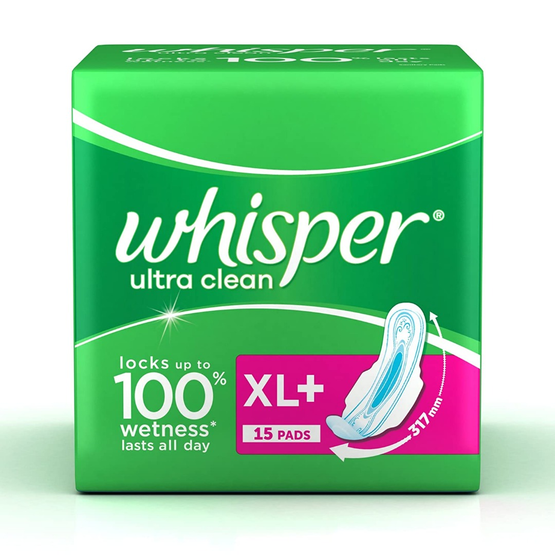 Whisper Ultra Sanitary Pads XL Plus Wings - 15 Count
