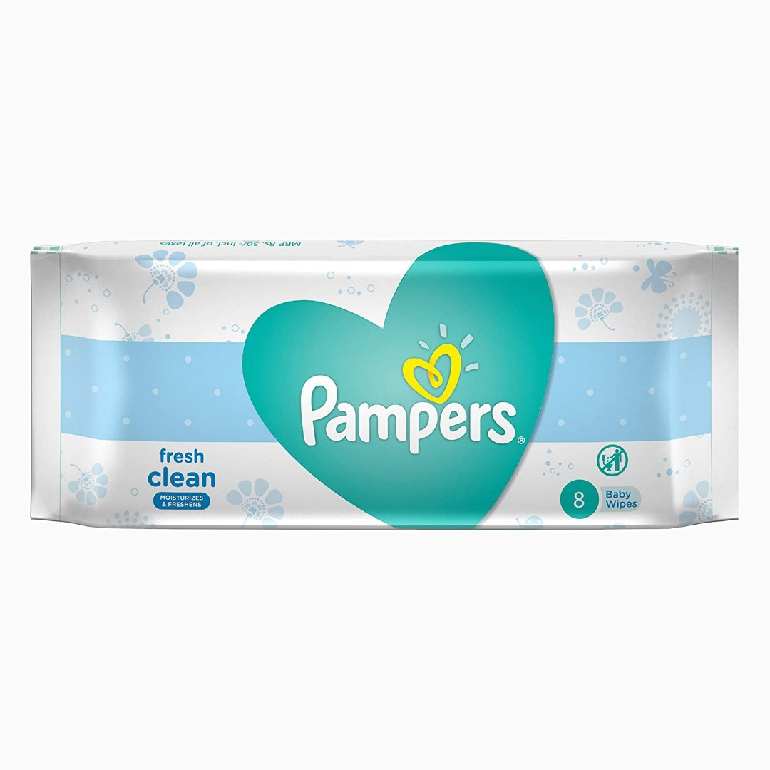 Pampers Fresh Clean Baby Wipes, 8 Sheets