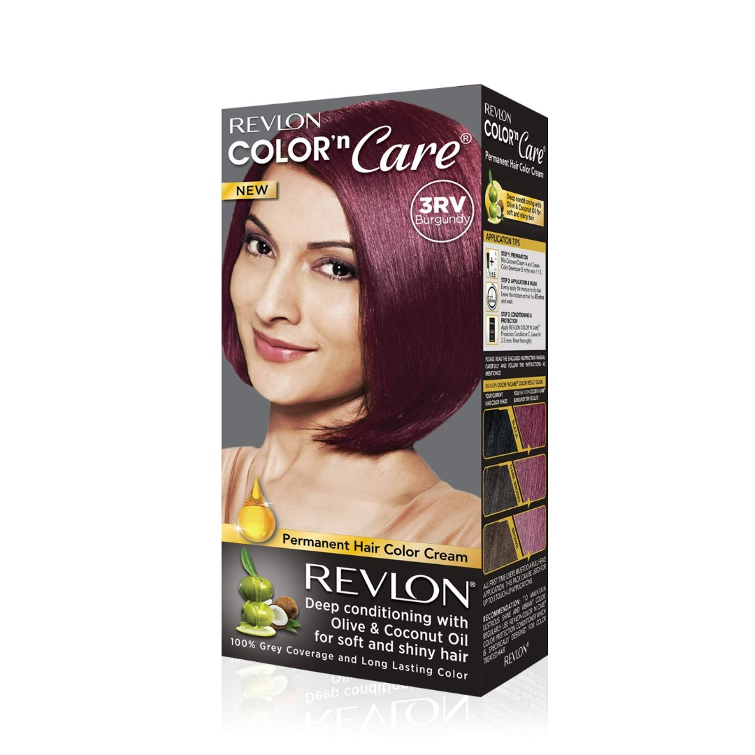 Revlon Color N Care Permanent Hair Color Cream, Burgundy 3RV With Olive and coconut Oil