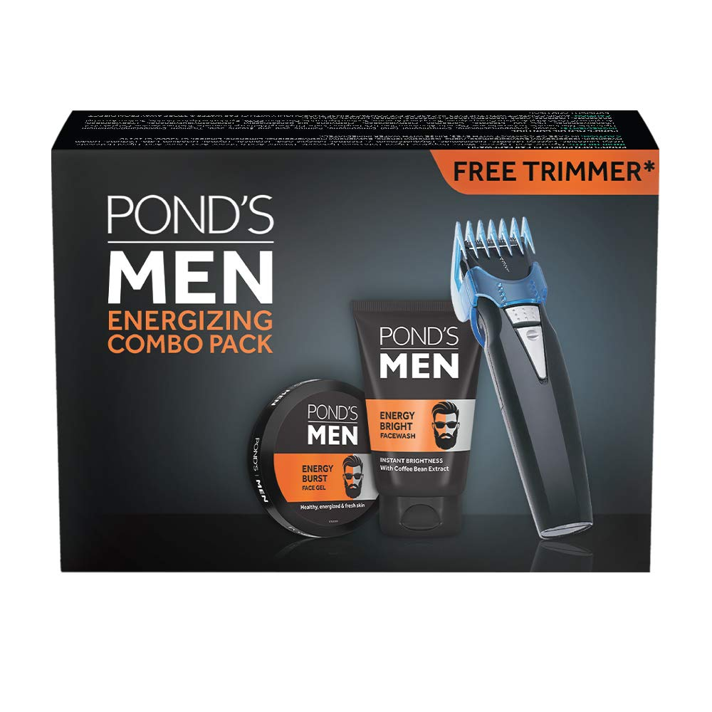POND'S Men Energy Bright Facewash & Energy Burst Face Gel, 100 g with Free Trimmer Combo