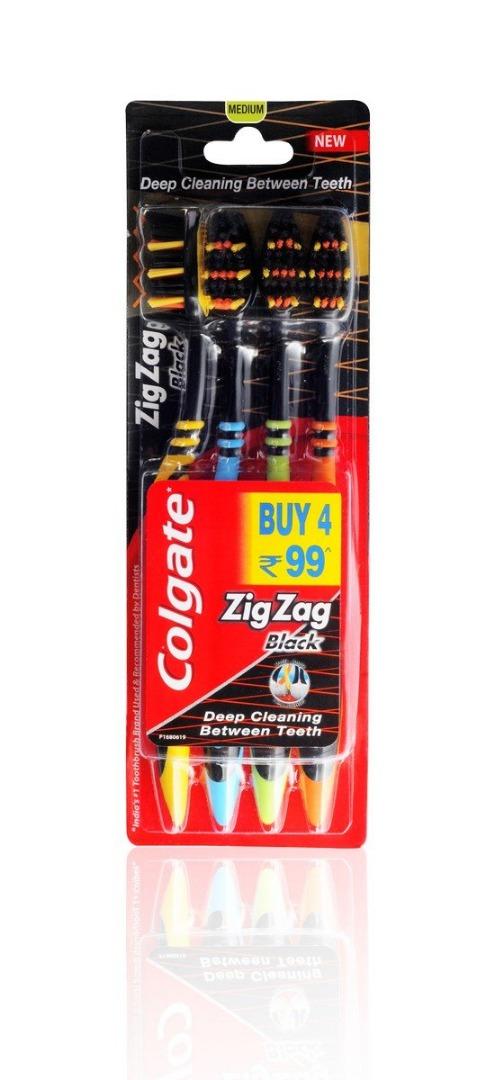 Colgate Zig Zag Black Medium Toothbrush Saver Pack - 4 Brushes