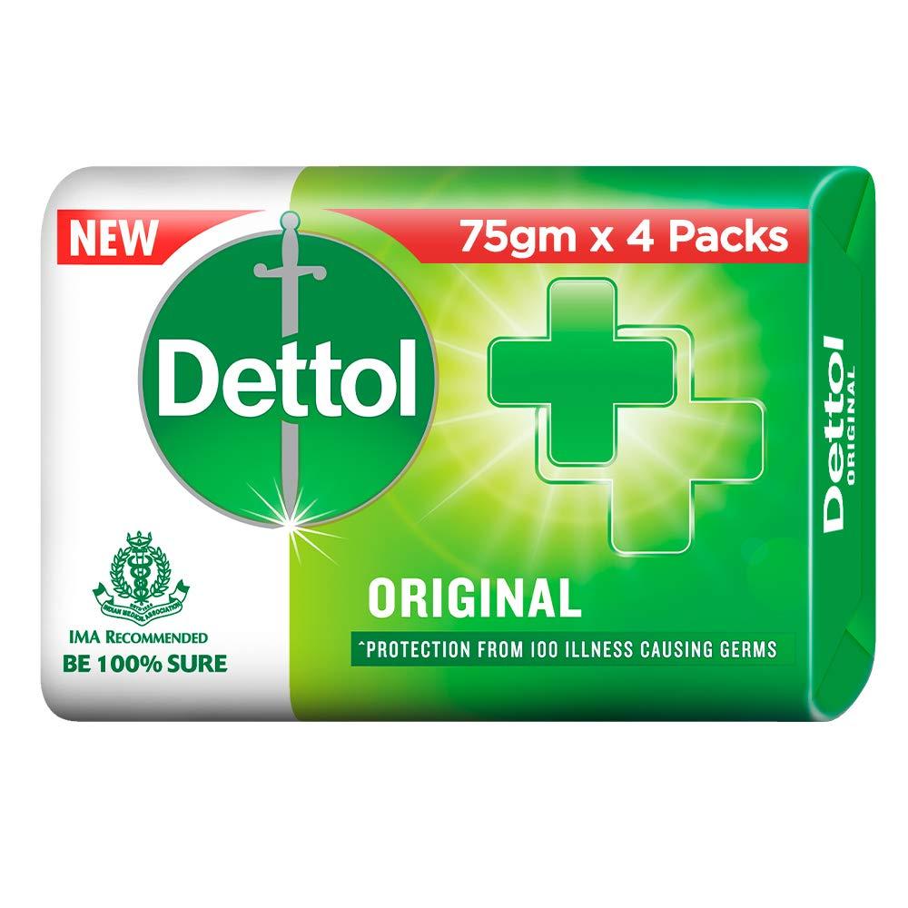 Dettol Original Germ Protection Bathing Soap bar, 75gm (Pack of 4)
