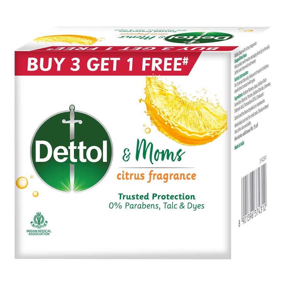 Dettol & Moms Bathing Soap Citrus, 75gm, Buy 3 Get 1 Free