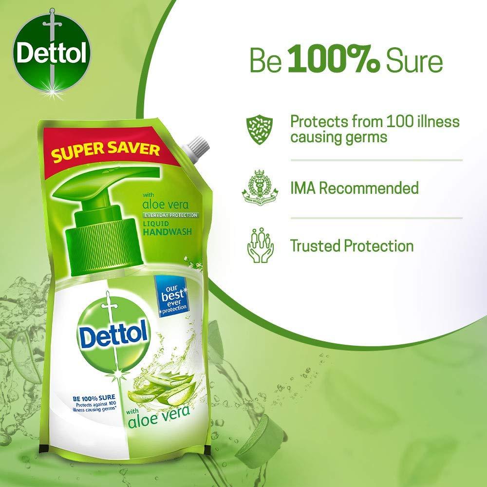 Dettol Aloe Vera Germ Protection Handwash Liquid Soap Refill, 750ml Pack