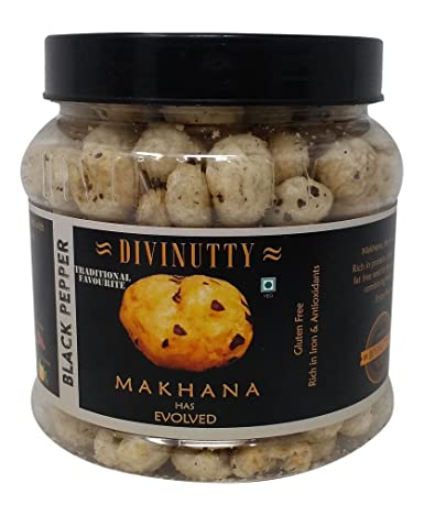 Divinutty Makhana - Black Pepper, 90g Jar
