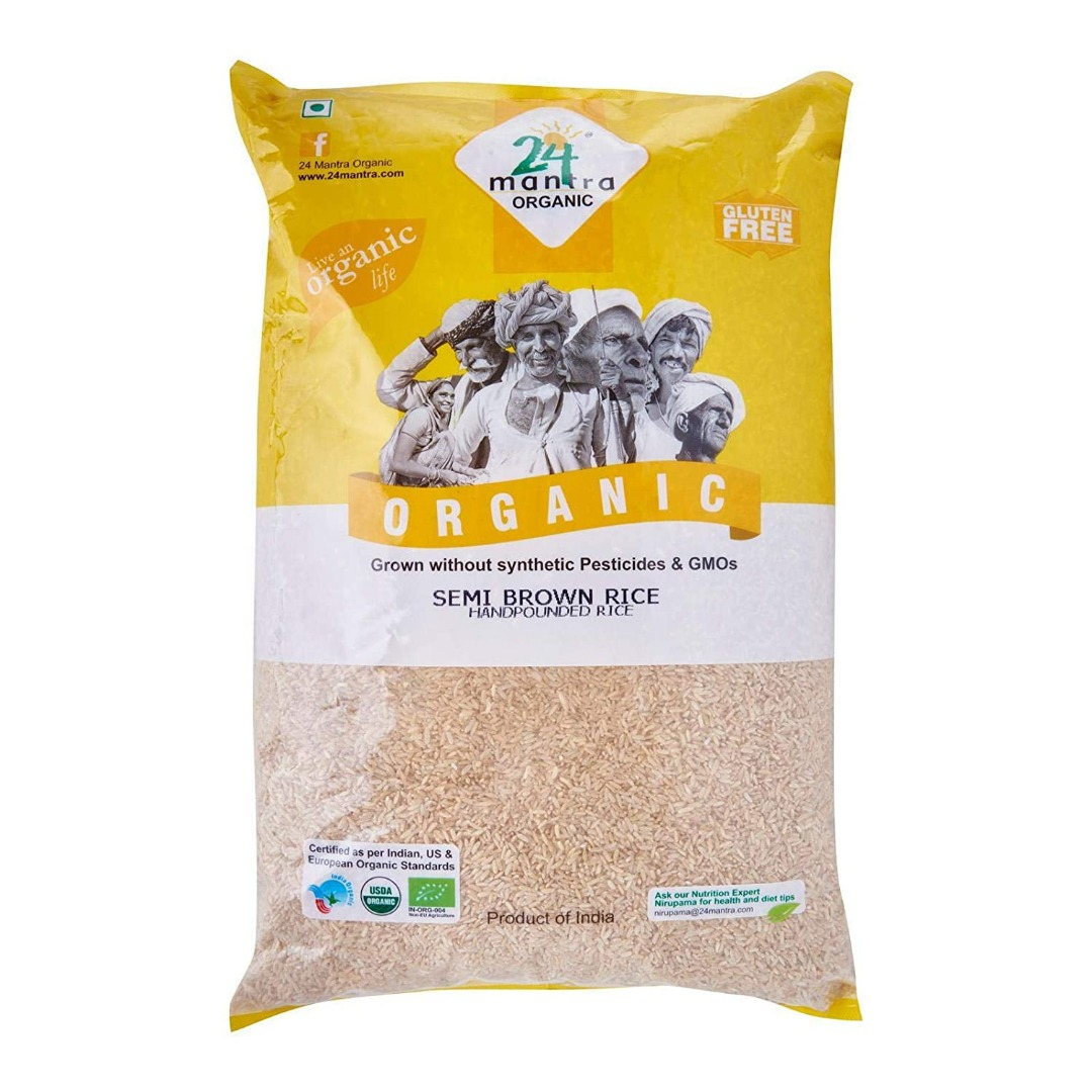 24 Mantra Organic Sonamasuri Semi Brown Rice Hand Pounded 1 kg