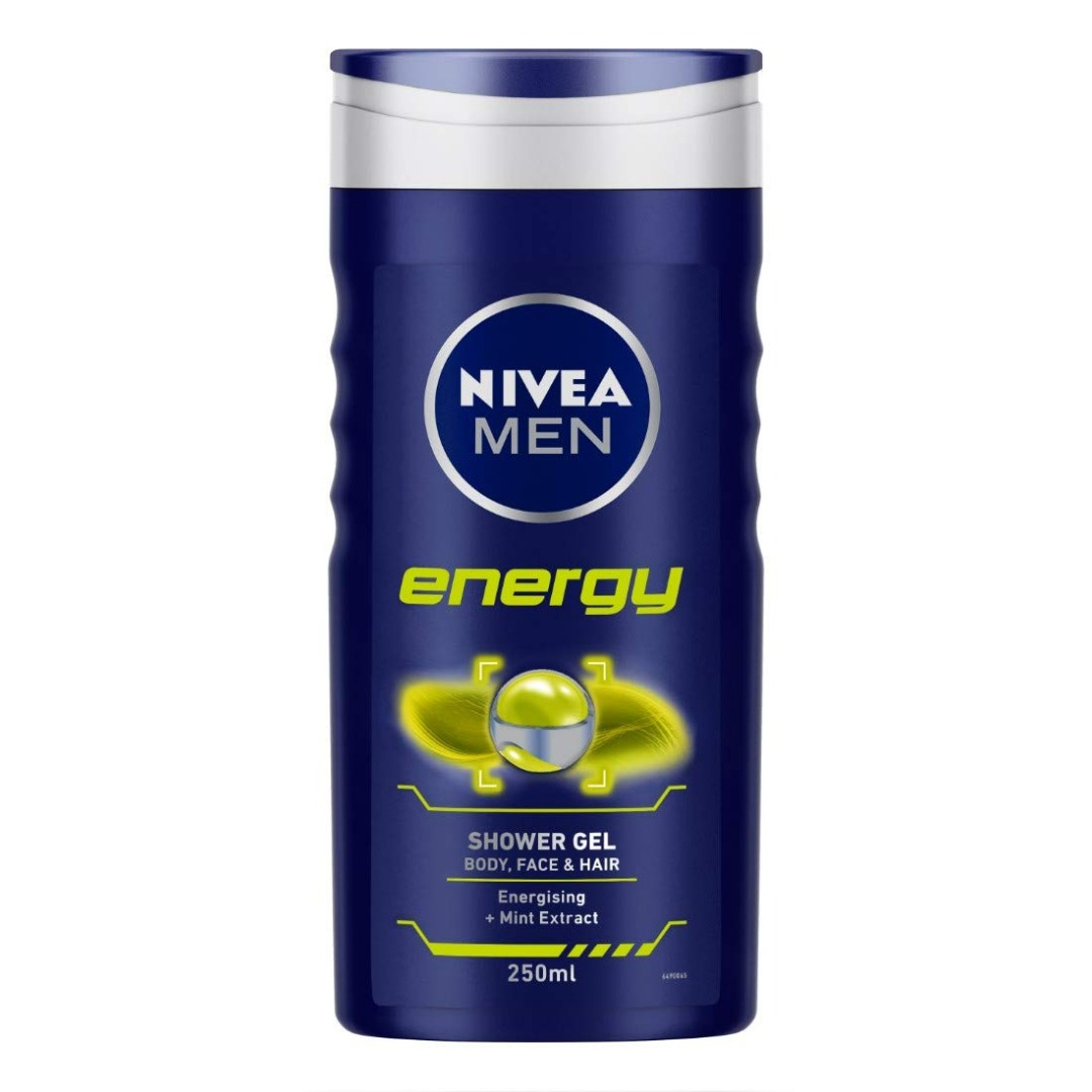 NIVEA Men Shower Gel, Energy Body Wash, 250ml