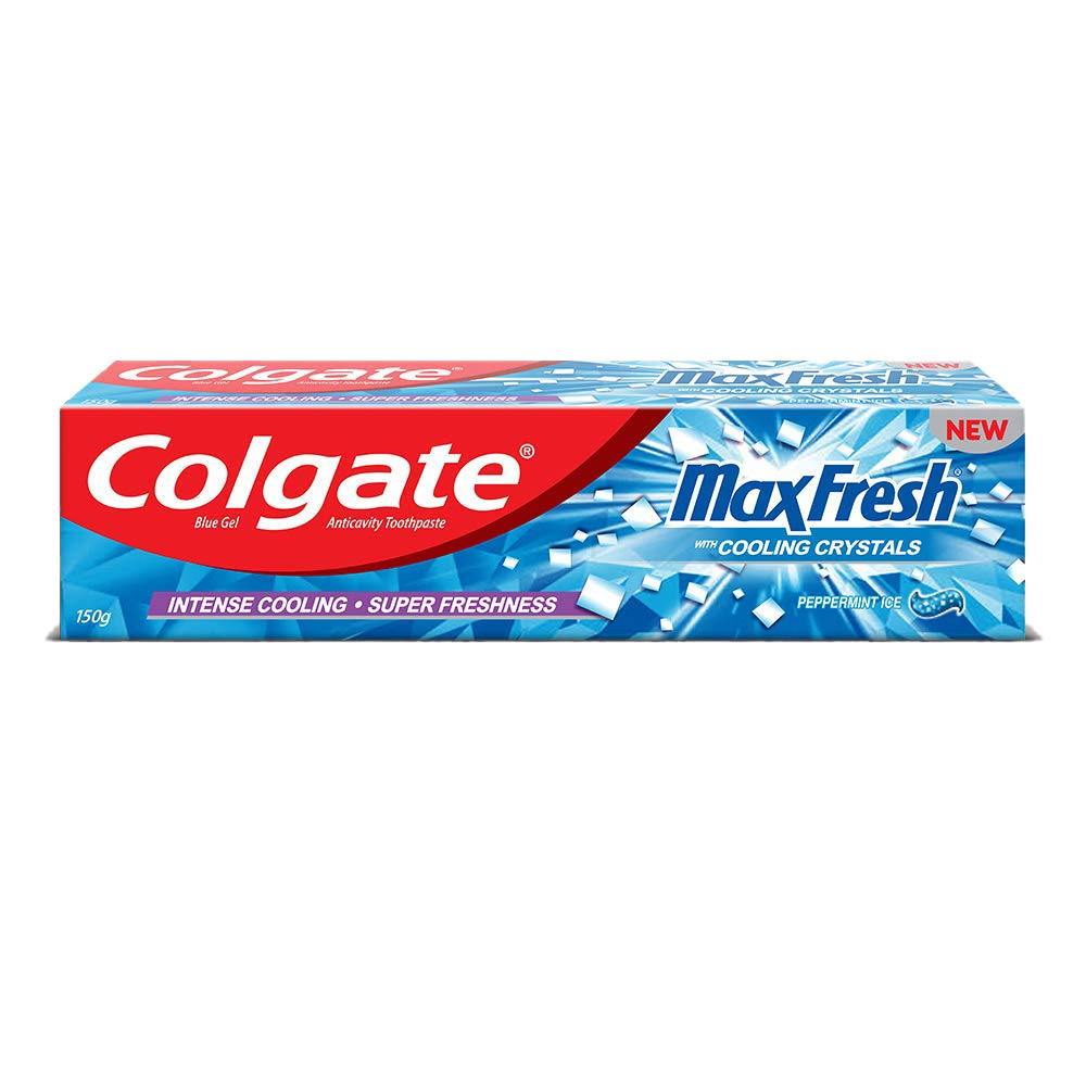 Colgate MaxFresh Toothpaste, Blue Gel Paste with Menthol for Super Fresh Breath, 150g (Peppermint Ice)