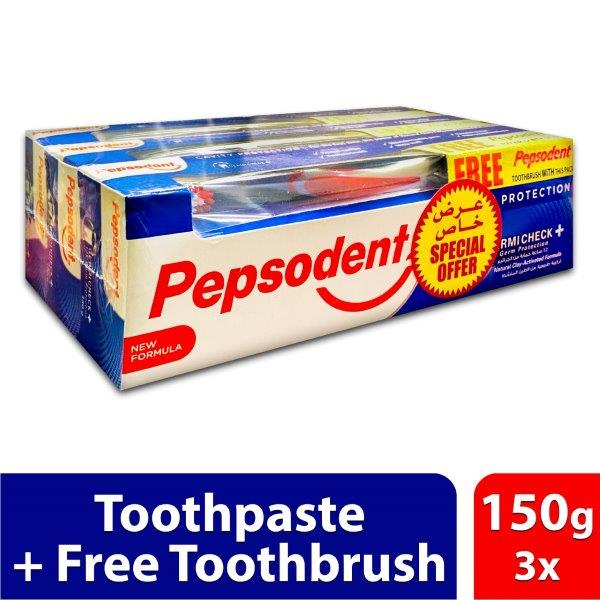 PEPSODENT GERMICHECK 150G + Tooth Brush Buy 3 @ SP