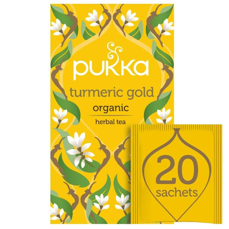 Pukka Turmeric Gold, Organic Herbal Tea with Lemon & Whole Leaf Green Tea, 20 Tea Bags