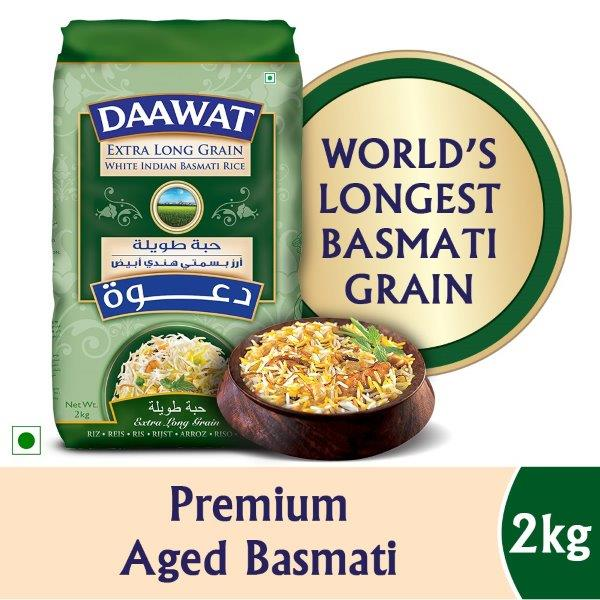 DAAWAT EXTRA LONG GRAIN 2KG