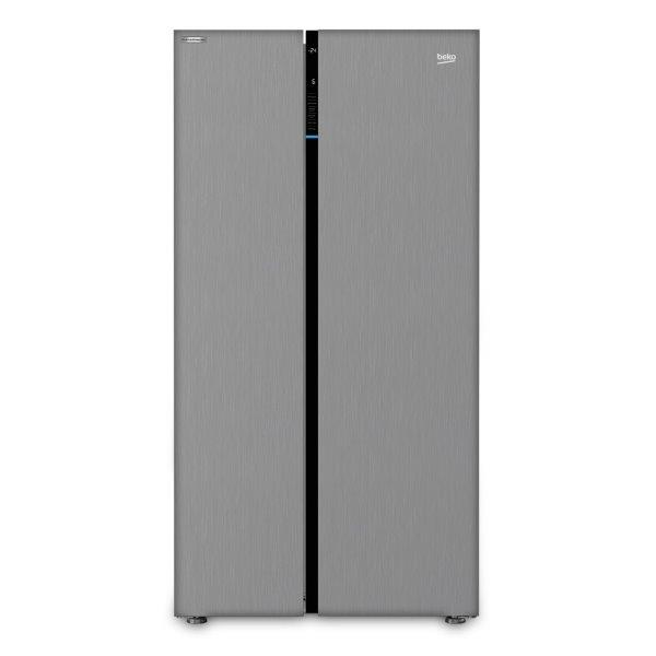 BEKO SIDE BY SIDE REFRIGERATOR 640 LTR SILVER,  ProSmart Inverter Compressor and Active Fresh Blue Light feature.