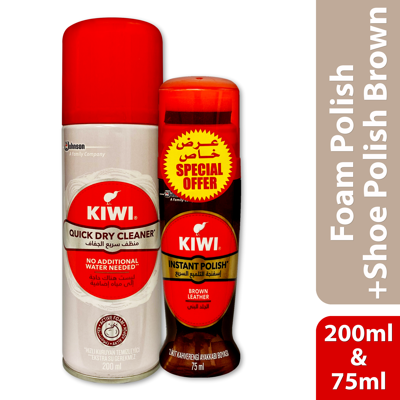 KIWI FOAM CLEANER 200ML + LIQ SHOE POLISH BROWN