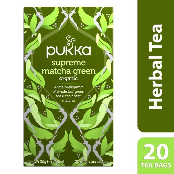 Pukka Supreme Matcha Green, Organic Herbal Green Tea with Sencha, 20 Tea Bags