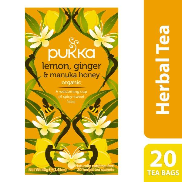 Pukka Lemon, Ginger & Manuka Honey, Organic Herbal Tea Bags, 20 Tea Bags