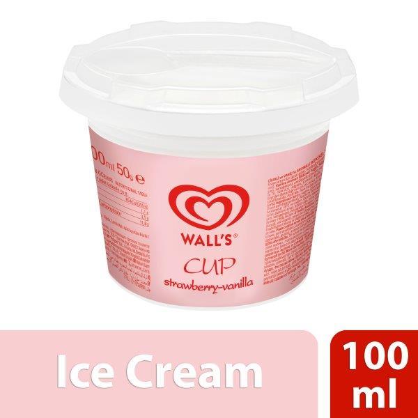 Wall'S Algida Strawberry Vanilla Cup, 100ml
