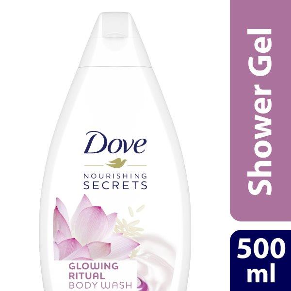 Dove Nourishing Secrets Glowing Ritual Shower Gel with Lotus flower extract and rice milk, 500ml