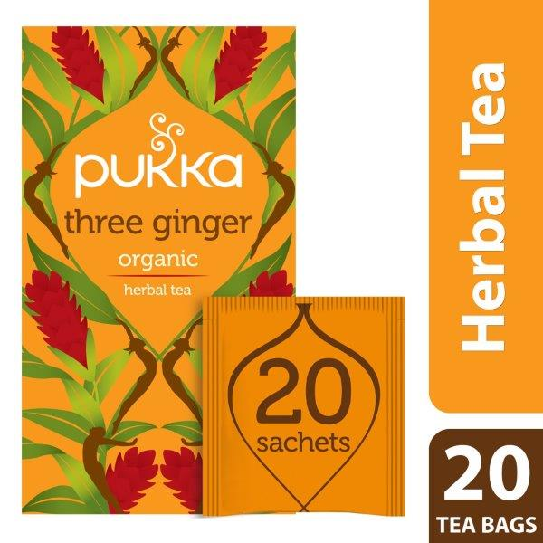 Pukka Three Ginger, Organic Herbal Tea with Galangal & Turmeric, 20 Tea Bags