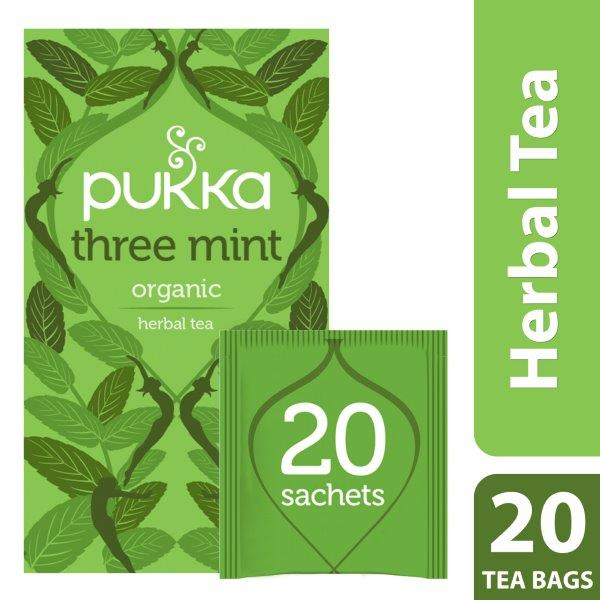 Pukka Three Mint, Organic Herbal Tea with Peppermint, Spearmint & Fieldmint, 20 Tea Bags