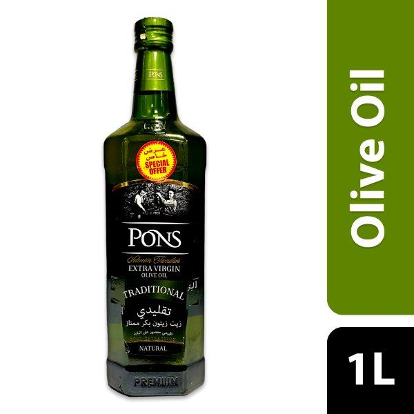 PONS EXTRA VIRGIN OLIVE OIL 1L GLASS, BUY@SPECIAL