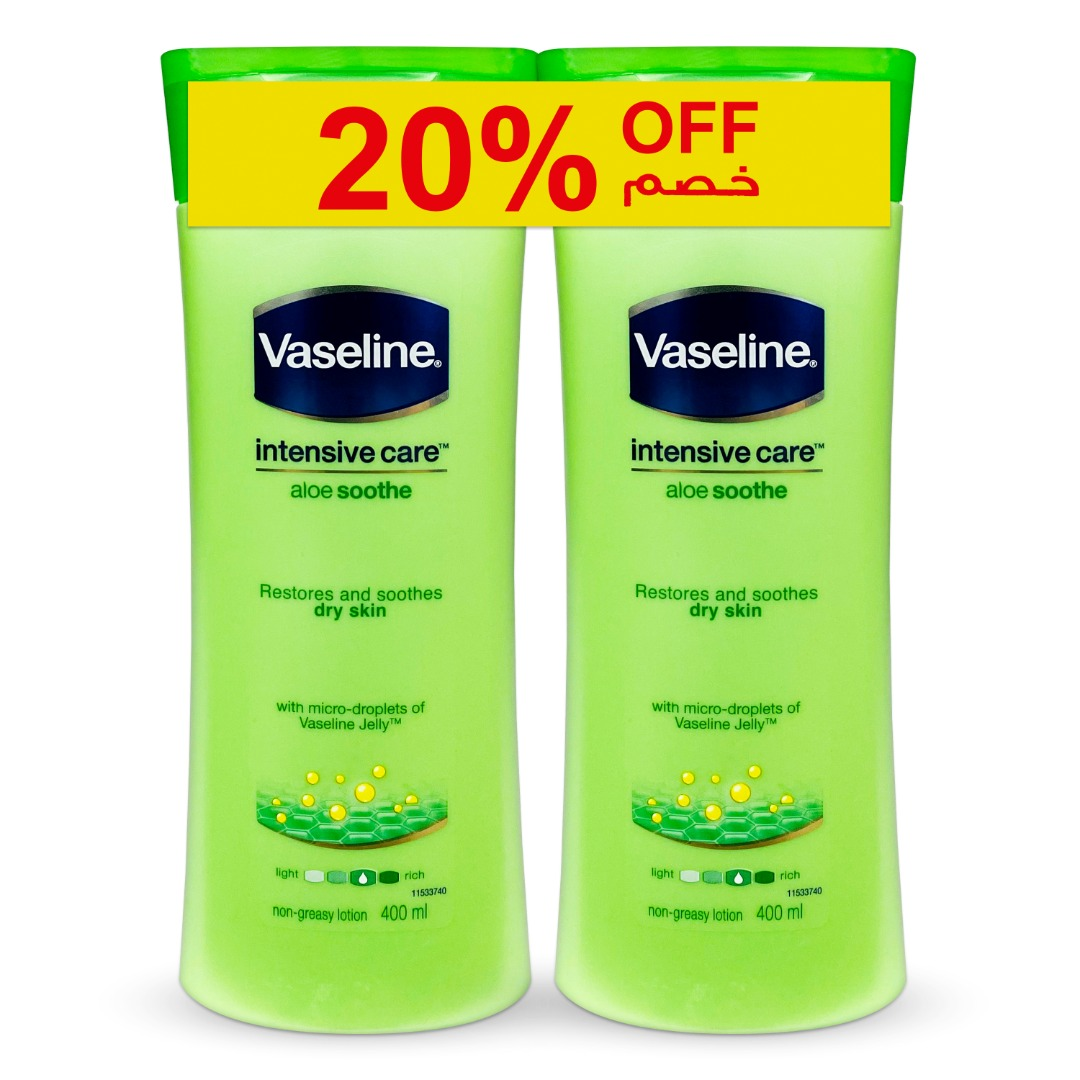 VASELINE LOTION 400ML ALOE SOOTHE TP@20% OFF