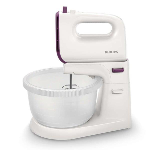 PHILIPS Viva Collection Mixer, Autodriven 3L Bowl,  for Strong efficient mixing for smooth cakes ; 450 W and 5 speed + Turbo