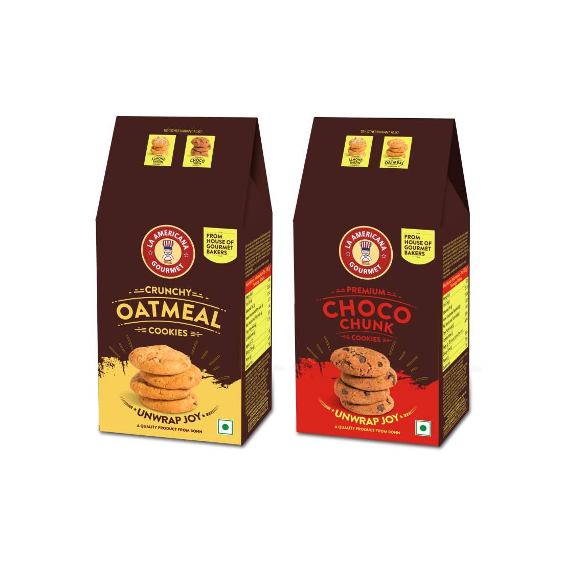 LA Americana Multi Pack Oatmeal and Chocochunk Cookies, TWO pack each