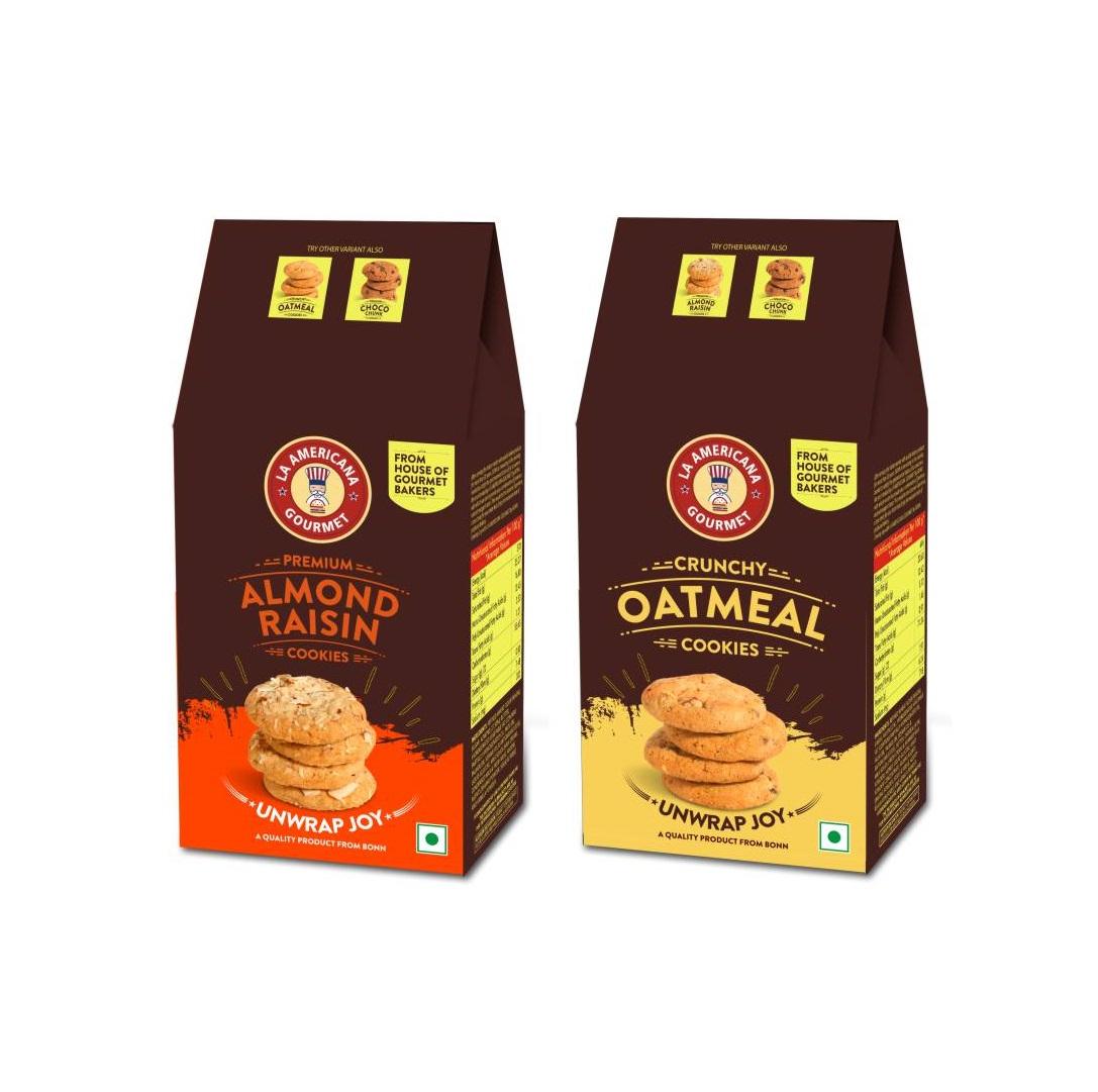 LA Americana Multi Pack Almond Raisin and Oatmeal Cookies, TWO pack each