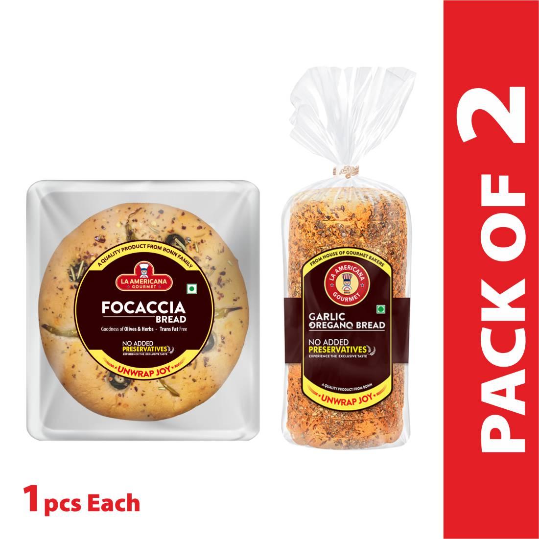 La Americana GARLIC OREGANO BREAD 250g, and LA Americana Focaccia Bread 100g, (Pack of 1 each)