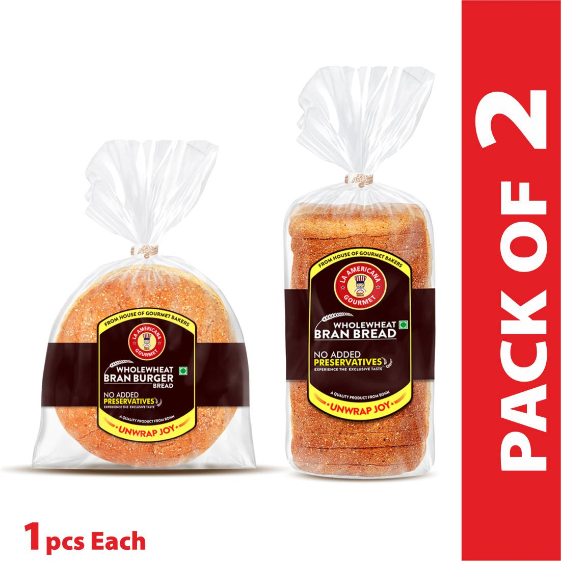 La Americana Wholewheat BRAN BREAD 350g, and La Americana Wholewheat Bran Burger 150g, (Pack of 1 each)