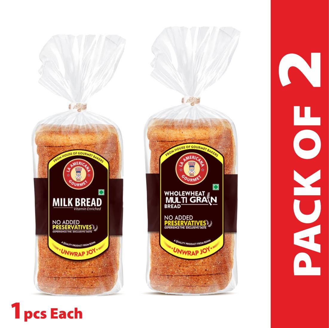 La Americana MILK BREAD 350g, and La Americana Wholewheat MULTIGRAIN BREAD 350g, (Pack of 1 each)