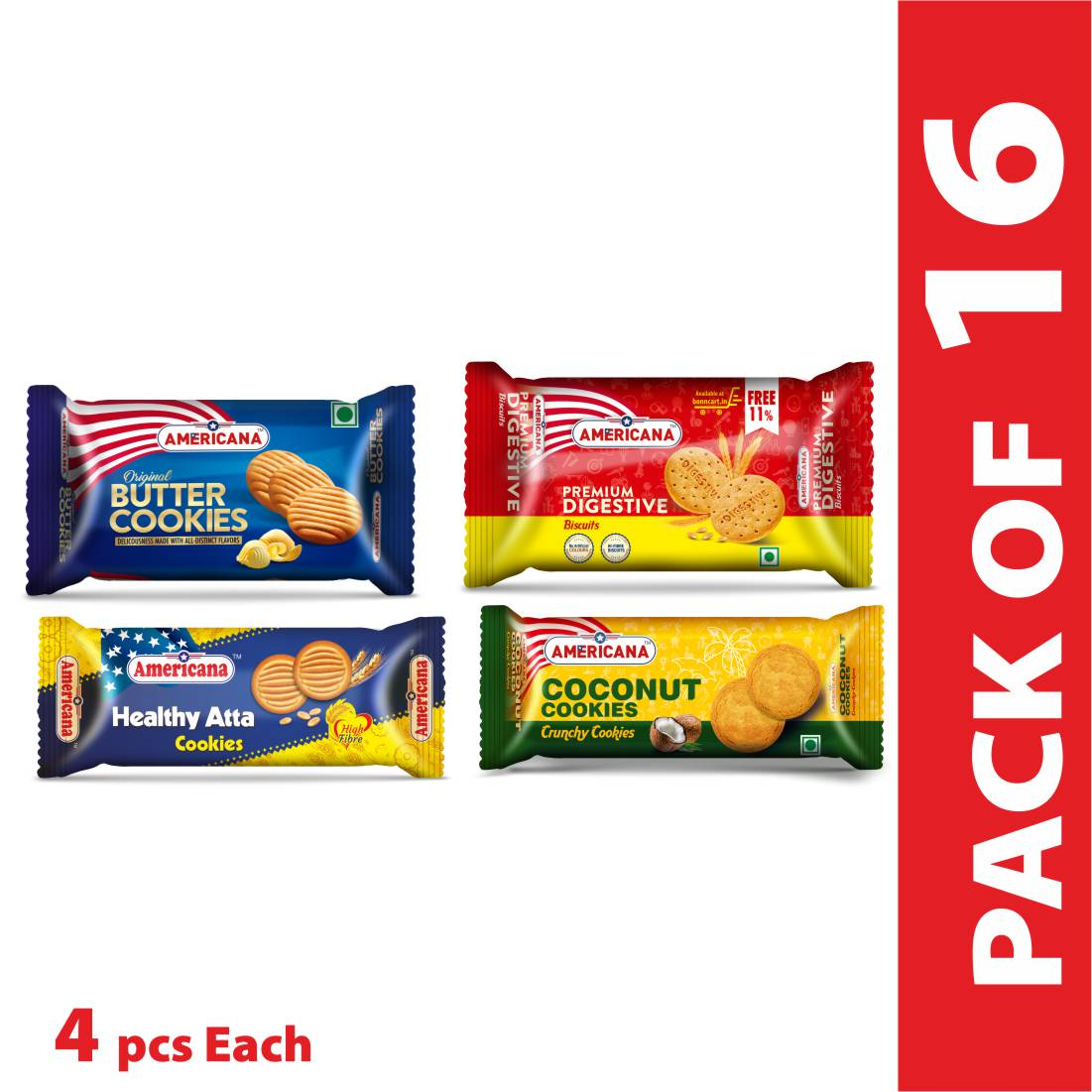 Americana cookies combo (Butter cookies 84g, Digestive Biscuit 78g, Coconut cookies 85g and Atta cookies 90g) 4 pack each