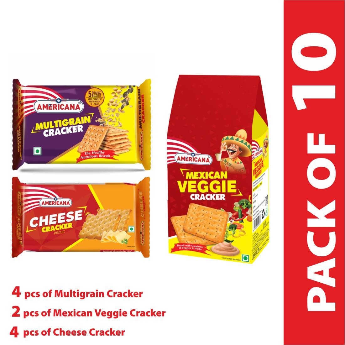 Americana mix crispy crackers (2 pack of Mexican Veggie Cracker 120g and 4 pack each of  Multigrain Cracker 66g and Cheese Cracker 70g)