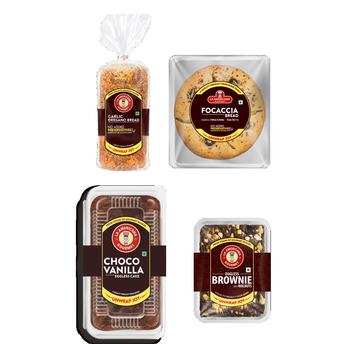 LA Americana Focaccia Bread 100g and Garlic Oregano Bread 250g and Eggless Walnut Brownie 70g and Eggless Choco Vanilla Cake 200g (Pack of 1 each)