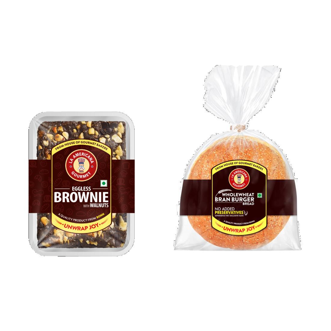LA Americana Wholewheat Bran Burger 150g and Eggless Walnut Brownie 70g ( 2 Packs each)