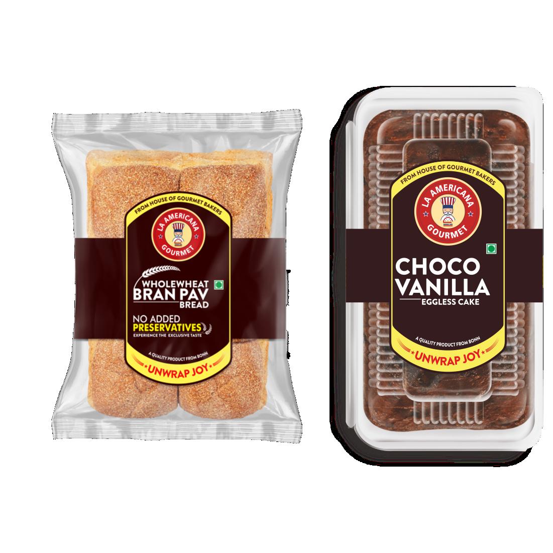 LA Americana Wholewheat Bran Pav Bread 250g (2 Packs) and Eggless Choco Vanilla Cake 200g (1 Pack)