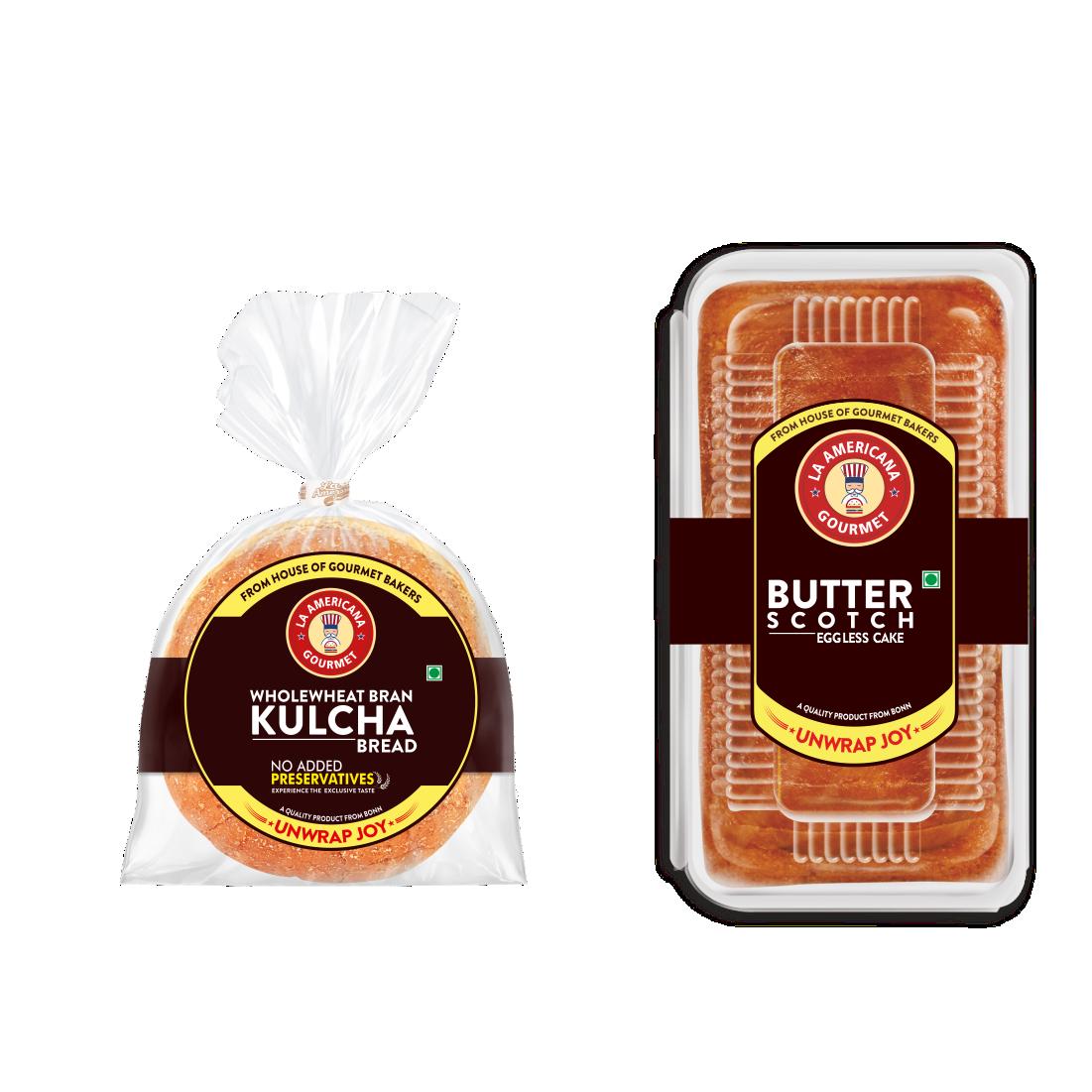 LA Americana wholewheat Bran Kulcha bread 200g (2 Packs) and Eggless Butter Scotch Cake 200g (1 Pack)