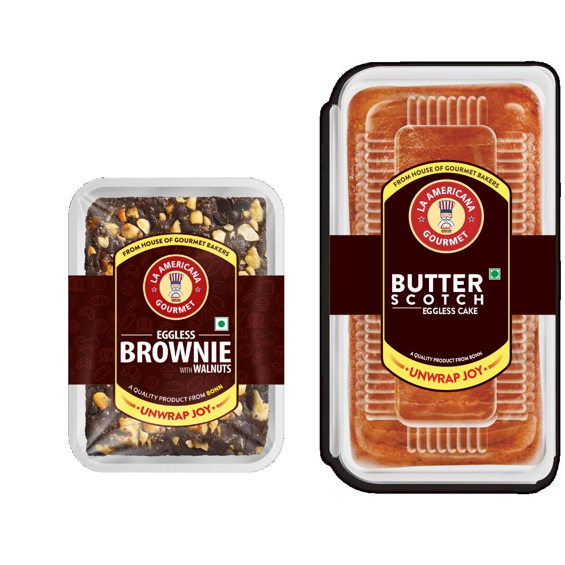 LA Americana Eggless Walnut Brownie 70g and Eggless Butter Scotch Cake 200g (2 Packs Each)