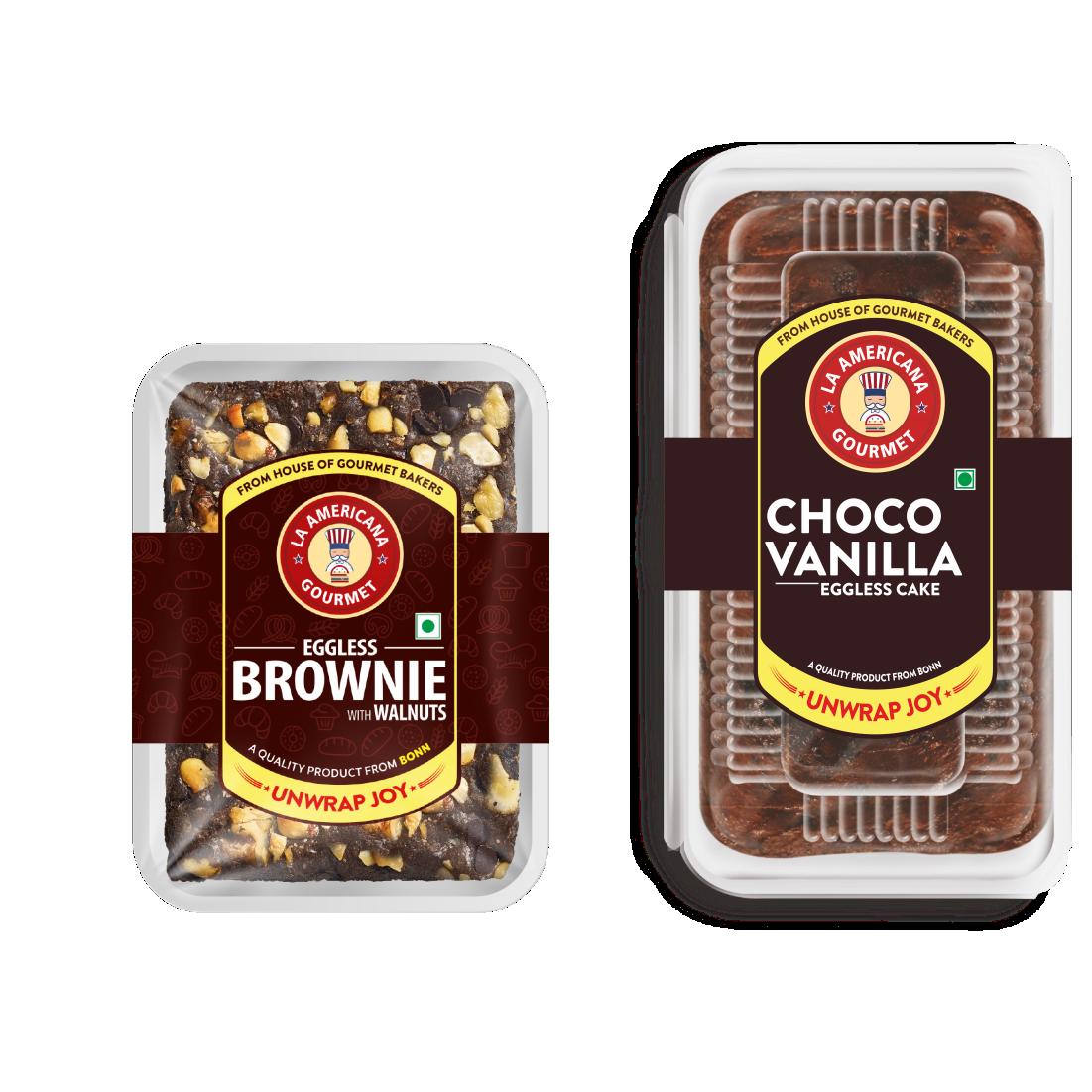 LA Americana Eggless Walnut Brownie 70g and Eggless Choco Vanilla Cake 200g (2 Packs Each)