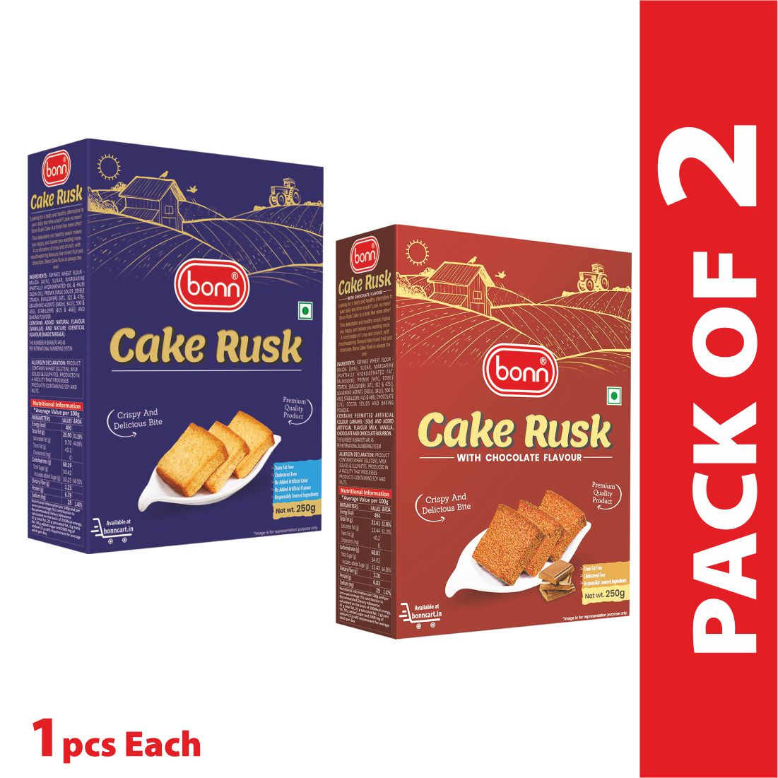 Bonn Cake Rusk Combo pack (Plain and  Chocolate flavour)