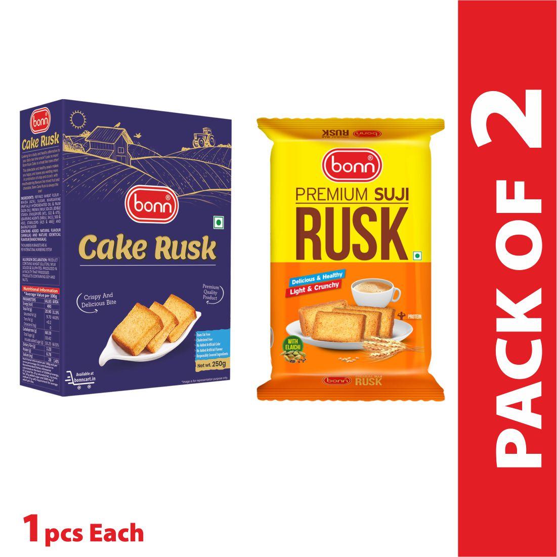 Bonn rusk combo (Cake and Suji 275g) Elaichi and Plain Flavour(1 Pack each)