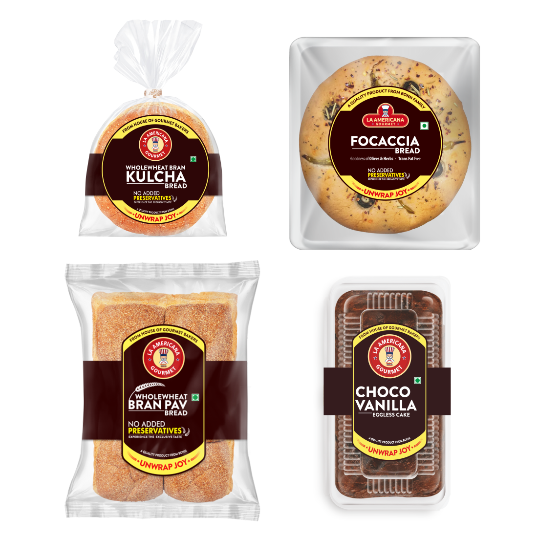 LA Americana wholewheat Bran Kulcha bread 200g, Focaccia Bread 100g, Wholewheat Bran Pav 250g and Eggless Choco Vanilla Cake 200g (Pack of 1 Each)